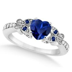 Preset Butterfly Blue Sapphire And Diamond Engagement Ring 14k White Gold 1.73ct