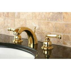 French Handle Polished Brass Mini-widespread Bathroom Faucet Polished