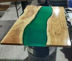 Green Epoxy Resin River Table Top Handmade Natural Wooden Decors Made To Order