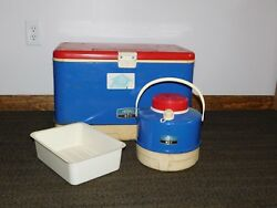 Vintage Picnic 22 X 14 X 14 Red White Blue Thermos Metal Beer Cooler And Jug
