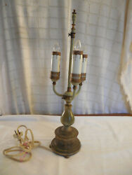 Vintage Candelabra Electric Table Lamp 1930's/40's Brass Tone And Marble Base