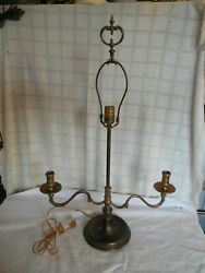 Aged Solid Brass Candelabra Electric Table Lamp