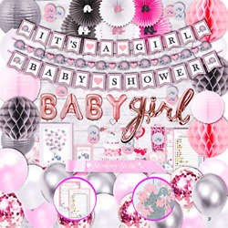 385 Piece Pink Elephant Baby Shower Decorations For Girl Kit - It's A Girl Sash