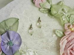 Vintage Faceted Crystal Drop Earrings For Jumeau Bru French Dollsantique Doll