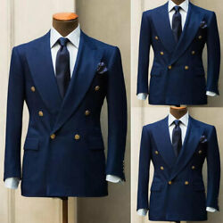 Blue Menand039s Suits Formal Slim Wedding Blazer Double-breasted Prom Dinner Tuxedos