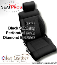 Alea Leather Seat Covers Kit 07-12 Jeep Wrangler 2 Or 4 Door Black Red Stitching