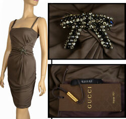 Dress With Crystal Bow Brown Jersey 1,375 Sz L / Large
