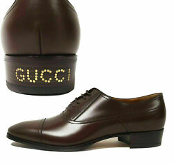 Shoes Mens Brown Leather Oxford Logo Heel 870 Sz 10 10.5