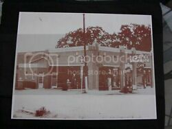 Texaco Gas Station Old Gas Visible Pumps Vintage Sepia Card Stock Photo 1930s