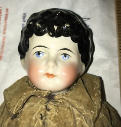 Early Antique German China Doll W/ Porcelain Head , Hands And Feet Cloth Body