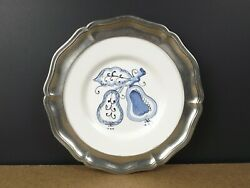 Arte Italica Pewter And Ceramic Pear 9.75 Plate Made In Italy Itb8