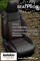 Leather Seat Covers 16-2021 Toyota Tacoma Double Cab Black Red Barracuda Carbon