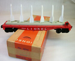 Lionel Postwar Ultra Rare Red 6844 Missile Carrying Flat Car C-8 Ln Tired Ob