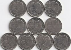 10 Different 1 Krona Coins From Sweden 1978/80/81/83/84/87/89/90/91/2000