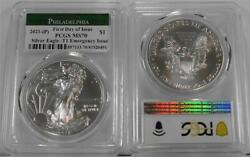 2021p 1 1 Ounce Emergency Issue T1 Silver Eagle Pcgs Ms70 First Day Of Issue