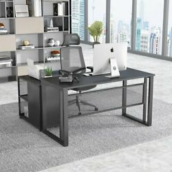 Tribesigns 55 Executive Desk Black Computer Table With 27.5mobile File Cabinet