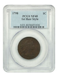 1798 1c Pcgs Xf40 1st Hair Style - Draped Bust Large Cents 1796-1807