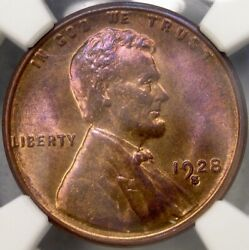 1928 S Lincoln Wheat Cent/penny Very Scarce Ngc Ms 65 Rb Choice Pq Gem+ Pop 43/2