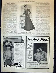 Old Antique Print 1906 Yachting Gown Cowes Erasmic Soap Neave's Baby Food 20th