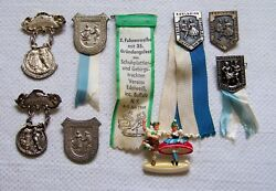Vintage 1960's New York German Dance Club Ribbons Medals And Pin Lot