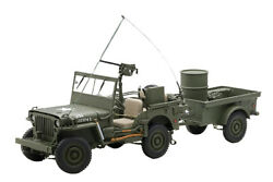 Autoart 74016 118 Willys Jeep 1943 With Trailer Accessories Included Machine
