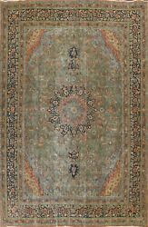 Antique Floral Overdyed Kashmar Area Rug Evenly Low Pile Oriental Handmade 10x13