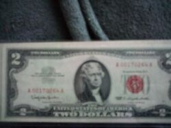1963 Two Dollar Bill Red Seal A00170264a