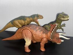 Lot Of 3 Jurassic World Park Metricanthosaurus Triceratops T-rex Read For Cond.