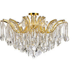Asfour Crystal Flush Mount Chandelier Gold Maria Theresa Quality 8-light 36