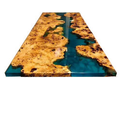Green Epoxy Acasia Wooden Resort Dining Table Top Room Table Decor Made To Order