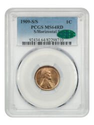 1909-s/horiz S Lincoln 1c Pcgs/cac Ms64 Rd - Popular Variety, Scarce In Full Red
