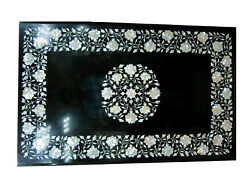 3and039x2and039 Black Marble Dining Table Mop Inlay Floral Art With 15 Stand Decors B915