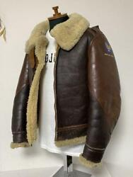 The Real Mccoy's War Model B-3 Jacket Leather Mouton 38 M Brown