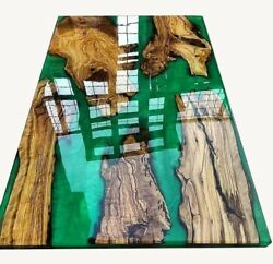 Green Olive Conference Epoxy Resin Table Dining Wooden Decorative Made To Order