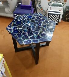 Blue Real Agate Stone Custom Cafeteria Table Top Handmade Collectible Furniture