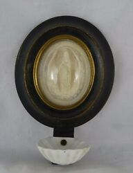 Antique French-wood Frame Meerschaum -holy Water Font Our Lady Of Lourdes 19th