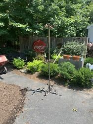 7' Vintage Scrolling Wrought Iron Hanging Flower Plant Stand Metal Garden Finel