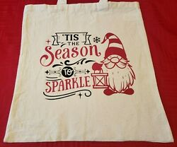 Cotton Canvas Printed Tote Bags Cute Christmas Sayings 16quot; x 14quot; $7.25