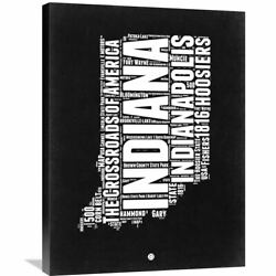 Naxart Studio And039indiana Black And White Mapand039 Stretched Canvas Small