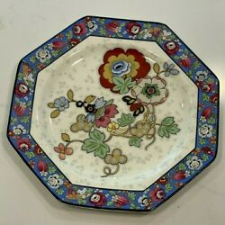 Crown Ducal Ware England China Plate 1930's Chintz Beaumont Blue Border