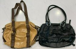 2 LEATHER HOBO BAGS DANIER BUTTERSCOTH PATENT LEATHER amp; B.MAKOWSKY BLACK CHROME $49.00