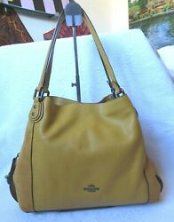 COACH OVER SHOULDER SUEDE LEATHER YELLOW PURSE $54.99