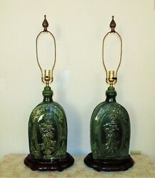 Pair Of Antique Chinese Table Lamps W/ Angels Green Asian Oriental Majolica Styl