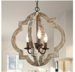 Lnc 3-light Distressed Gray Farmhouse Cage Chandelier