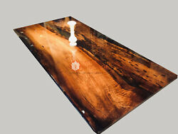 Clear Resin Epoxy Dining Acacia Wooden Dining Custom Table Handmade Collectible