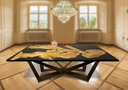 Black River Dining Table Top Office Desk Epoxy Table Acacia Wooden Decorative