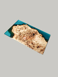 Blue Resin Muppa Burl Wood Designer Coffee Cocktail Table Top Drawing Room Decor