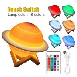 Smart Night Light Led Table 3d Bedside Lamp Remote Control 16 Colors Saturn Lamp