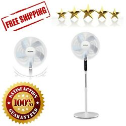 Pedestal Standing Fan Speed Ultra Quiet Remote Control Adjustable Heights White
