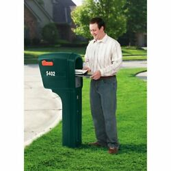Plastic Mailbox Weather Resistant Front Rear Doors Heavy Duty Poly Spruce Finish